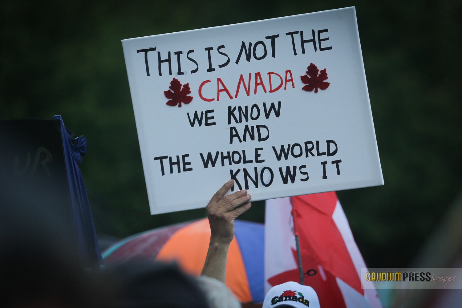 Protesters march agains the vandalizing of Churches in Canada
